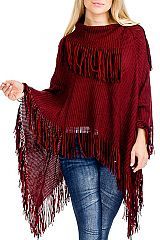 Ribbed Neck And Hemline Stripe Texture Knit Fringed Poncho