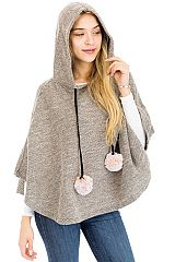 Grainy Mixed Knit Hooded Batwing Sleeveless Cape Poncho