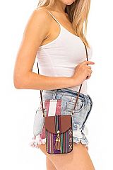 Aztec and Geometric Pattern Embroidered Boho Chic Faux Leather Cross Body Pouch Bag
