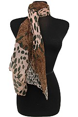 Color Block Leopard Pattern Scarves