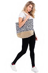 Leopard Print Canvas Tote Bag with Rope Handle