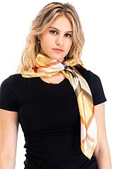 Plaid Printed and Silk Felt Twill Square Scarf