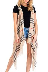 Fashion Styled Plaid Printed Semi Sheer Cover Up Frayed Vest