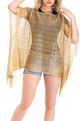 Ombre Silk Felt Metallic Blend Semi Transparent Blouse