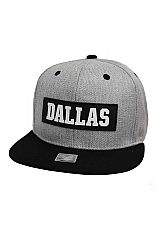 Embossed Silicone Dallas Patch Accented Six Panel Acrylic Snap Back Hat