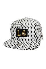 LA Embossed Patch Accented All Print Six Panel Acrylic Snap Back Hat