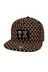 Texas TX Embossed Patch Accented All Print Six Panel Acrylic Snap Back Hat