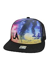 Tie Dye Print Sky Palm Tree LA Print Six Panel Polyester Trucker Hat