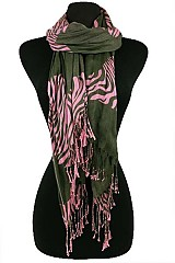 Striped Waves Pattern Scarves with Fringe.