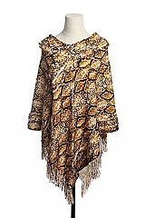 Rattle Snake Skin Print Faux Fur Accented Fringed Knit Throw Over V-Neck Poncho