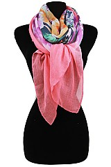 Solid Color with Flower Design Softness Scarf