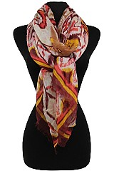 Color Full Floral Pattern Wrap Woven Scarves