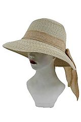 Linen Bow Decor Round Shape Sun hat