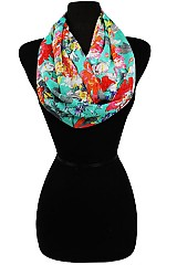 Sheer Floral Pattern Infinity Scarves