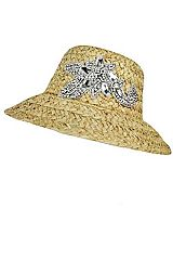 Crystal Accent Flower Applique On All Natural Sun Hat