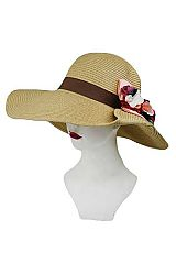 Flipped Brim Flower Center Floppy Sun Hat