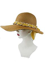Over sized Front Billed Chunky Chain & Chiffon Sun Hat