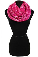 Mix Toned and Tinsel Accented Crochet Stitched Ribbed Knit Infinity Scarf