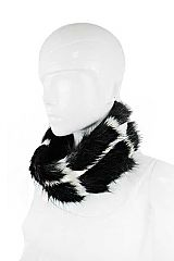 Windowpane Checkered Faux Fur Infinity Scarf and Headband Convertible