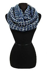 Two Tone Fair Isle Stitched Crochet Knit Infinity Scarf