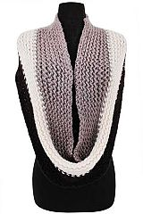 Multicolor Striped Garter Stitched Knit Infinity Scarves