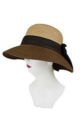 Large Bow Two Tone color Block Bucket shape Sun Hat