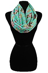Super Soft Sheer Floral Pattern Infinity Scarves