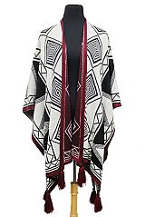 Thick Knit Exotic Patterned & Tasseled Reversible Open Silhouette Poncho