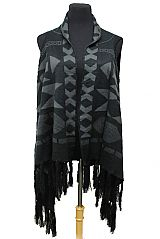 Abstractly & Geometrically Patterned Thick Knit Long Vest