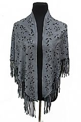 Floral Laser cut Fringed Triangle Shape Shawl Scarves