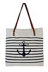 Striped and Anchor Printed Faux Leather Strap Handled Canvas Tote Bag