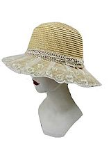 Laced Crochet Band With Tulle Brim Cover Bucket Styled Hat