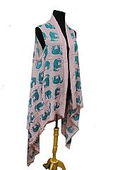 Elephant All Over Print Semi Sheer Sleeveless Cotton Feel Super Softness Cardigan Style