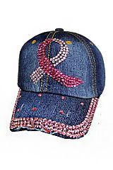 Breast Cancer Ribbon Novelty Bling Bling Caps