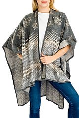 5a0f3c0637e Natural Leaves   Geometric Patterned Thick Felt Fabric Cape-like Open Shawl  with Brooch for