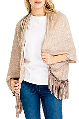 Shabby And Chic Boho Fringed With Wooden Beads Poncho