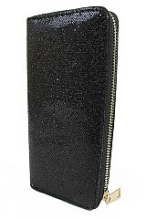 Glittered Fashion Wallet with Golden Zipper Closure