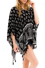 Ornate Pattern Boho Styled Throw Over Kimono Cover Up