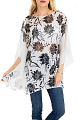 Simplistic Floral Blossom throw Over Chiffon Top Cover Up