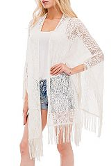 Daisy Lace Pattern  Cover Up Kimono  With Tassel