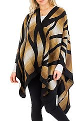 Thick Ombre Dyed Open Poncho With Tiger Stripes Print