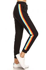 Rainbow Multi Striped Side Sweatpants Jogger Pants