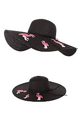 Flamingo embroidery Hand patch Floppy Sunhat