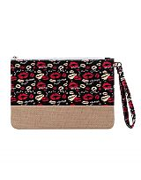 Animated Lips and Letters Printed Natural Burlap Clutch Bag