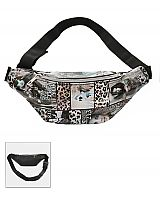 Magazine Collage Animal Print Glossy Fanny Packs
