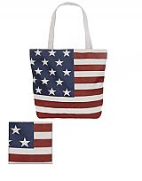 Printed American Flag Tote Bag