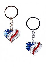 Rhinestone Embedded American Flag Patterned Metal Heart Key Chain