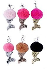 Glitter Mermaid Tail Detailed Pom Pom Key Chain