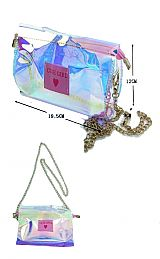 Cute Girl Transparent Iridescent Cross Body Clutch Bag