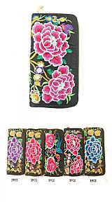 Majestic Bold Vivid Embroidered Floral Wallets